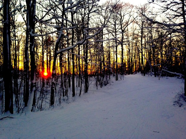 Sunset yesterday from the high point on the Birkie Trail.
