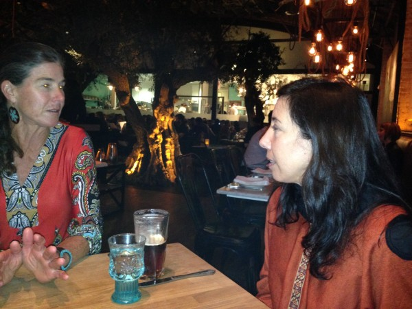 Sue and Ann at dinner last night.  Notice the olive tree inside the restaurant behind them.
