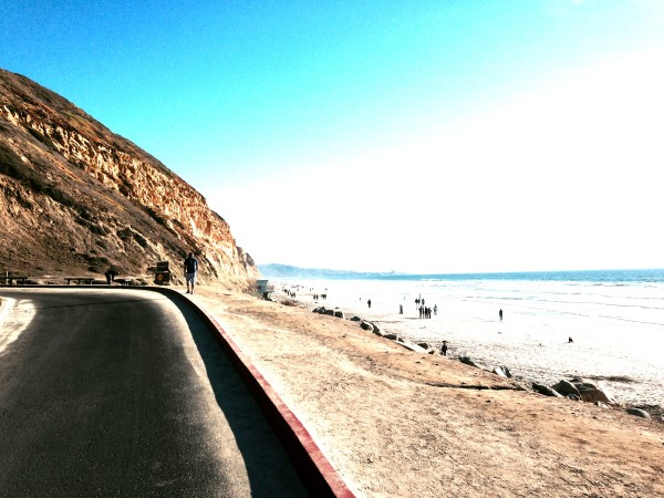 Starting up the inside road of Torrey Pines.