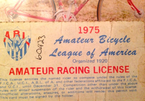 My first racing license for the ABLA.  My license number was 05035.  I wonder if I can get that back from the USAC?