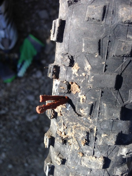 Plugged tire.