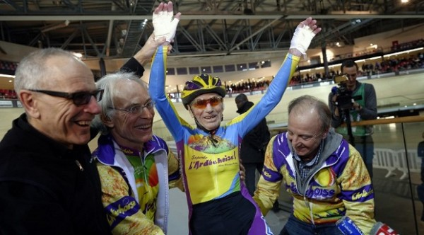 102 year old Robert Marchand after setting the hour record yesterday.