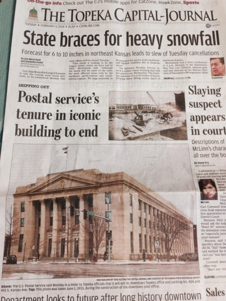 Predicted snowfall and main post office closing announced on the same day.