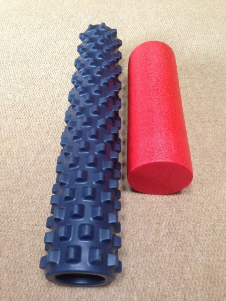 I had this little read foam roller, but Vincent gave me this gnarly one that really digs in a ton more.