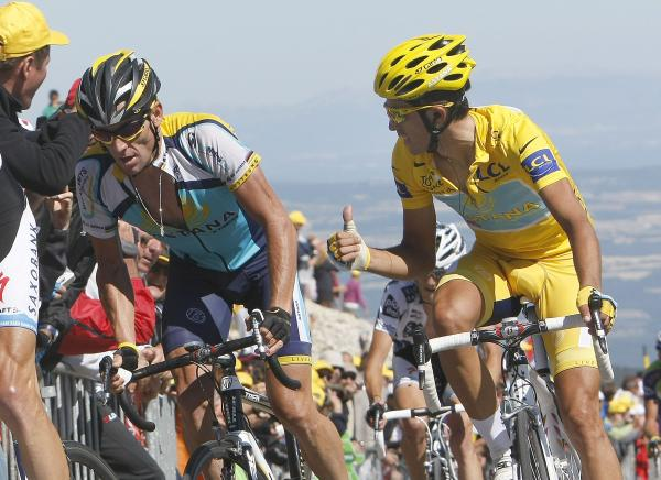 Alberto and Lance climbing the Ventoux.  Alberto looks pretty stressed, huh?