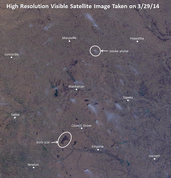 This is the satellite photo.  Notice how much burning they are doing just Southwest of Topeka.  Some mornings, going out to get the newspaper, I can hardly see down the block.