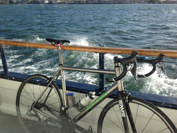 My bike on the ferry back to San Diego.  Still no bar tape.  I don't have the levers positioned right, or the sprint shifters either.