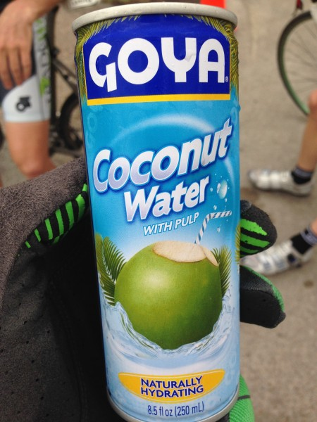 They were handing out this at the finish.  Coconut water with chunks of coconut in it.  I drank/ate 4.