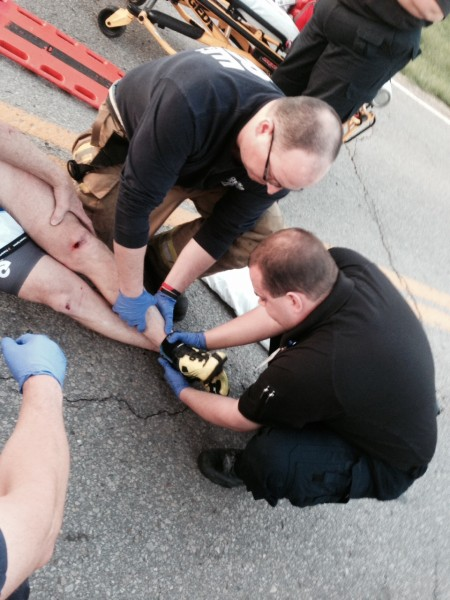The paramedics were having the hardest time with his shoes.