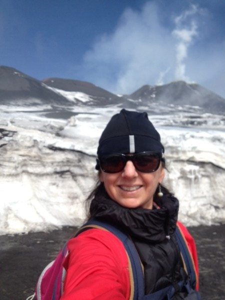Trudi up on the volcano in Sicily.