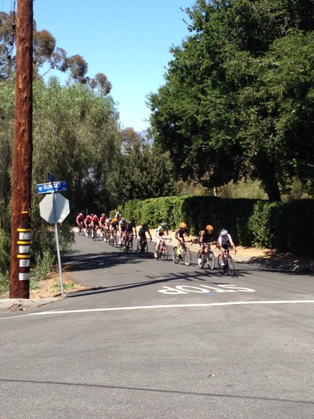 The riders up on the Sunset Loop early in the race.  It was already blown apart.
