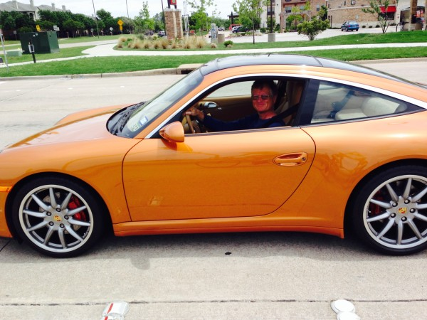 I was out riding on Wednesday and Mark just rolled up at an intersection in his Porsche.