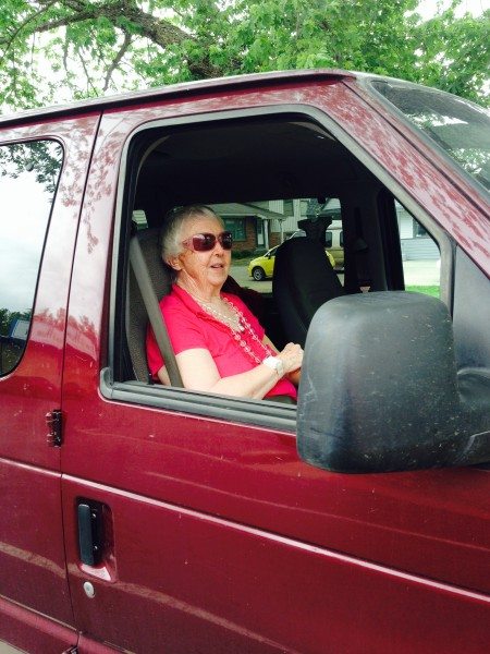 Catherine's mom, Berta, in my van.