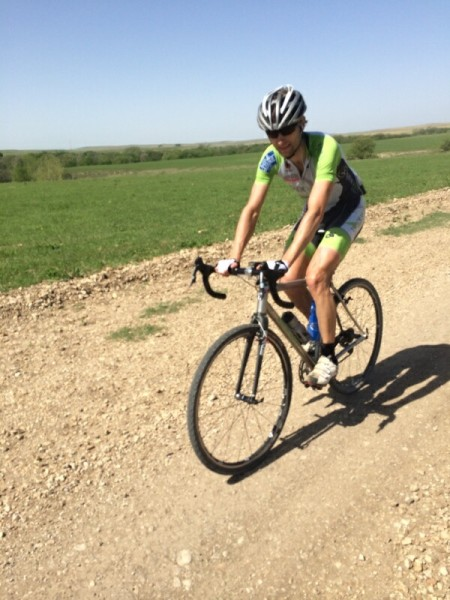 Brian riding the Dirty Kanza course yesterday.
