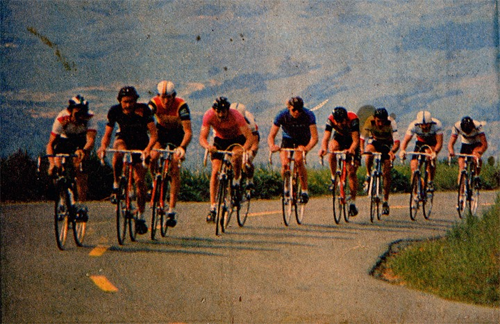 I have a better picture of this, but in the photo is George Mount, Dale Stetina, me, Bob Roll, Roy Knickman,  and others.  It is great seeing Peter Stetina riding the climb today, following in his father's footsteps.