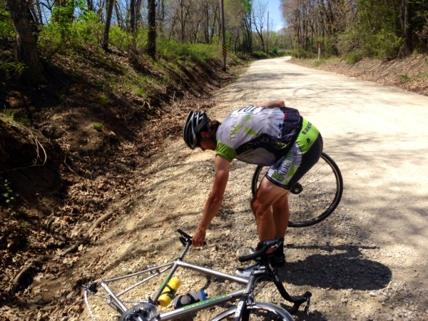 Brian wasn't so happy I talked him into riding on gravel on the way to Lawrence, he flatted.