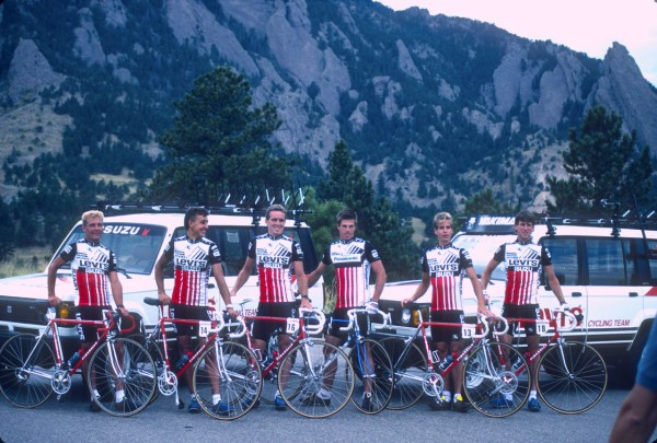 One of the slide scans, the Levis/ Isuzu team from the before the Coor's Classic.  This is Greg Demgen, Roy Knickman, Thurlow Rogers, Phil Anderson, Andy Hampsten and me.  I still have one of those Isuzu Troopers behind us.