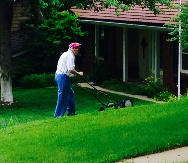 My next door neighbor is in her mid 80's and still mows her lawn twice a week with a manual push mower.  This is great exercise.