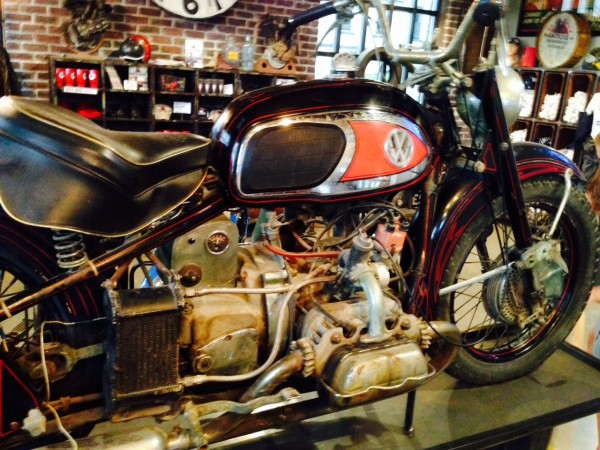 At the American Picker place, this was pretty cool, at flat VW engine mounted in a motorcycle.