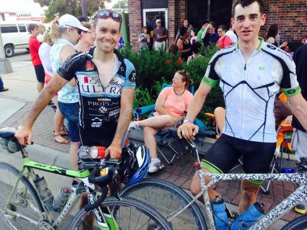 This is Josh Johnson, on the left, with 3rd place finisher, Jonathan Schottler.  They rode the race a few years ago and Josh flatted a ton and Jon waited for him while he changed his flats.  I think they were off their bikes over an hour that year.