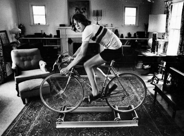Photo from a newspaper article of me riding rollers with a broken collarbone before Nationals.