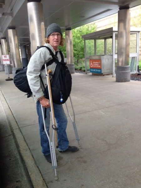 At the Madison airport.  I have my walking stick toe strapped to my crutches.