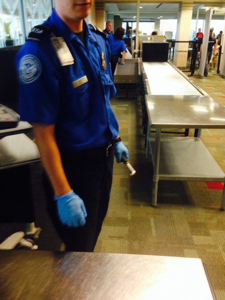The first TSA agent just about to take my pedal wrench.