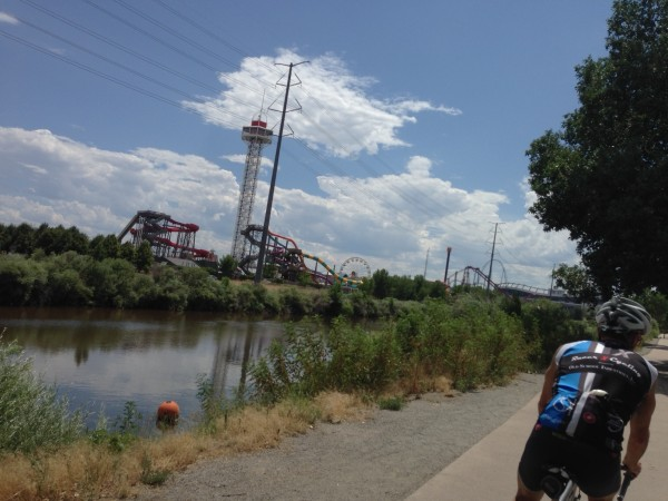 Bike path by an amusement park somewhere near downtown Denver.