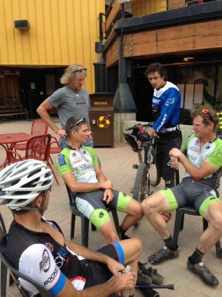 Vincent, Bill, Trent Newcomer and I sitting after the race.  Adam Craig stopped by to talk a little.