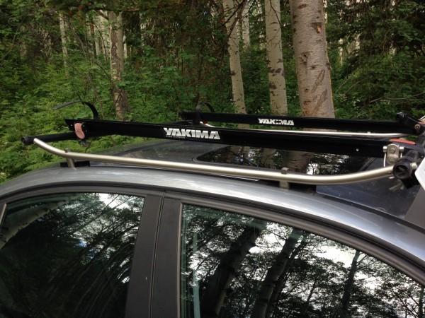 Bike rack on his BMW sedan.