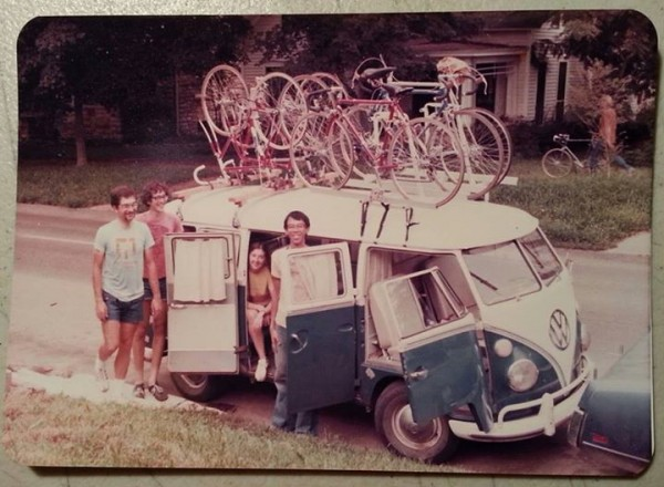 Cal, far left, with Brian Koeningsdorf, Dee and Gene Wee.  It was Cal's VW bus.