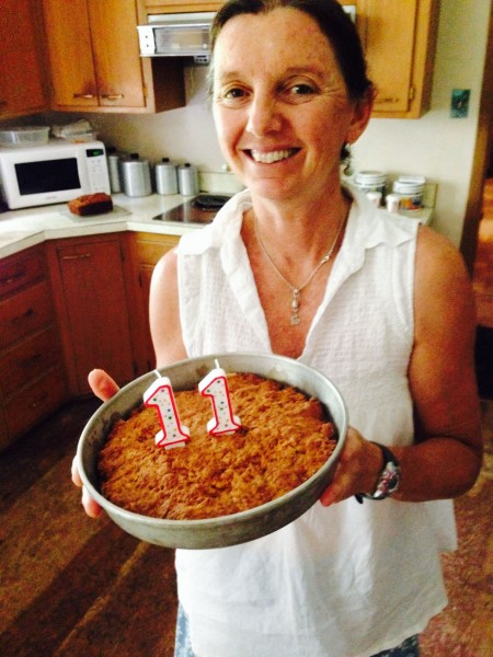 Trudi with Bromont's birthday cake back in June.