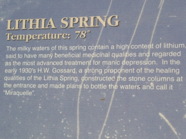 I guess the spring was supposed to have some medicinal properties, if you're brain ill.