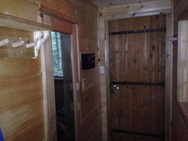 Outside of sauna downstairs.