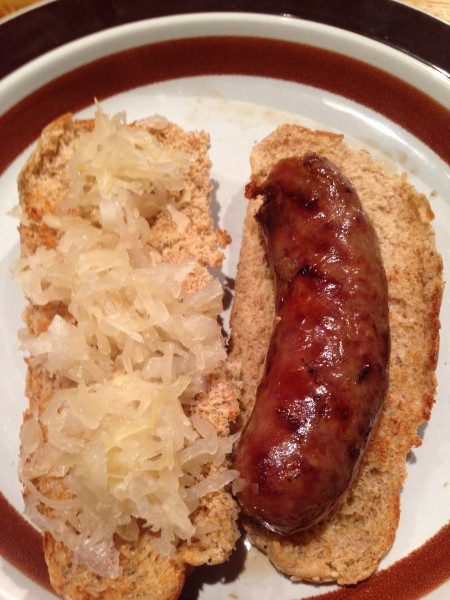Dennis made me brats and sauerkraut for my last dinner in Wisconsin.  Seemed appropriate.