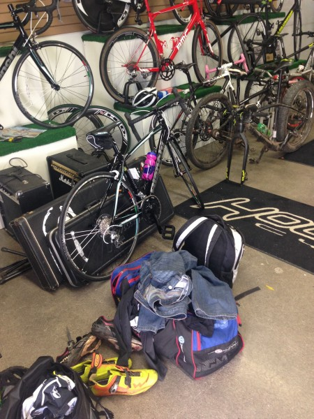 I like going into a bike shop and seeing a pile of post race stuff.  Such was the case yesterday at Hollywood's.