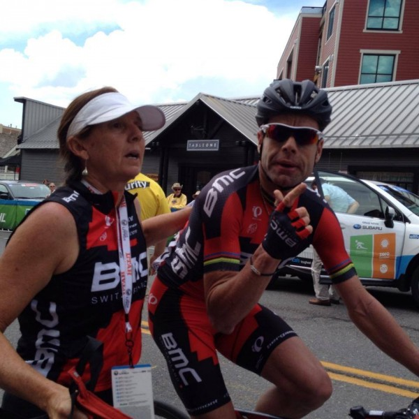 Trudi and Cadel after Sunday's stage of the Tour of Utah.