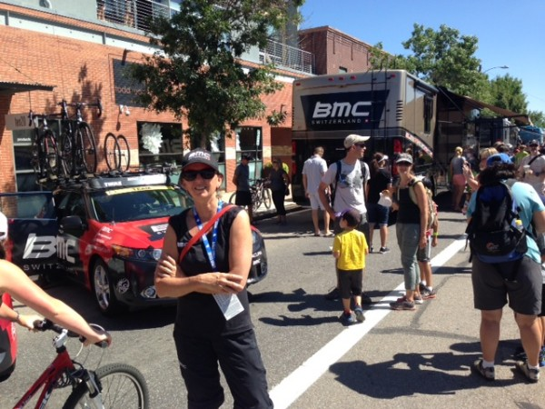Trudi working yesterday in Boulder before the start.