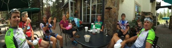Gang sitting in Vail yesterday mid-ride.  Vincent's head really isn't that narrow.