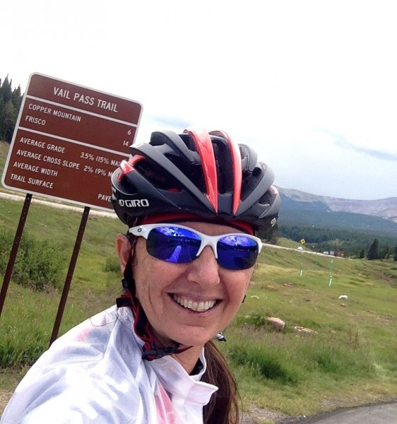 Trudi did her first real ride in over a month.  She got dropped early on, but kept going to the top of Vail Pass.  She has a little chocolate Gu on her lower lip, it seems.