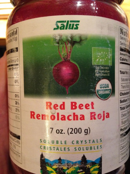 Kent brought this along.  Last two times I've tried beet juice I've been incapacitated for 2 days.
