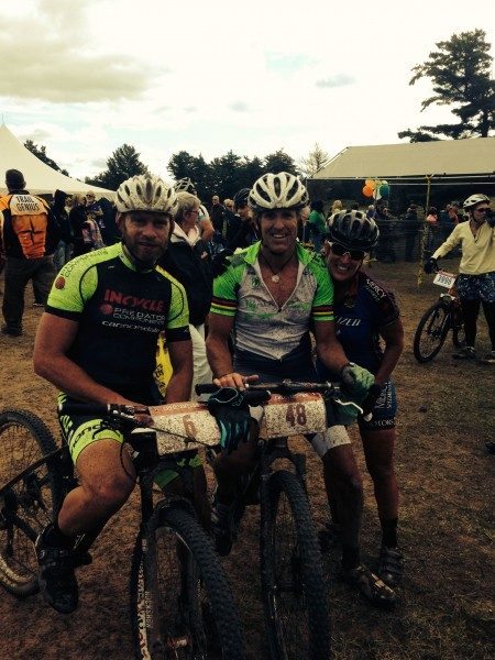 Micheal Olheiser, me and Kim Eppen at the finish.  It is pretty cool, the camaraderie at the end of a MTB race.