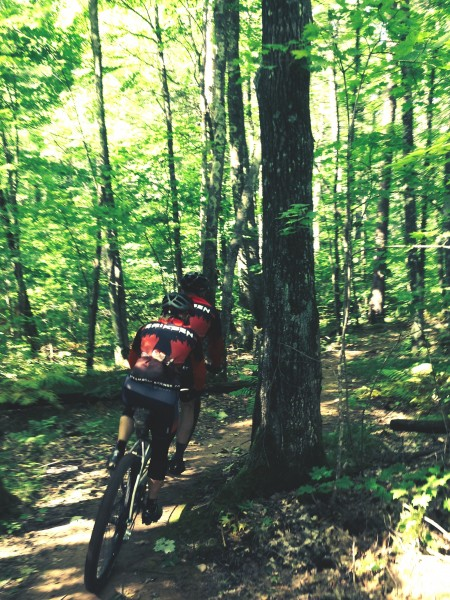 Riding singletrack with Kent and Katie on the tandem on Sunday.   They are amazing on singletrack.