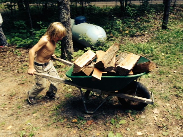 We even use child labor, though this child is stronger than most of us.  He's George's son and takes after his father.