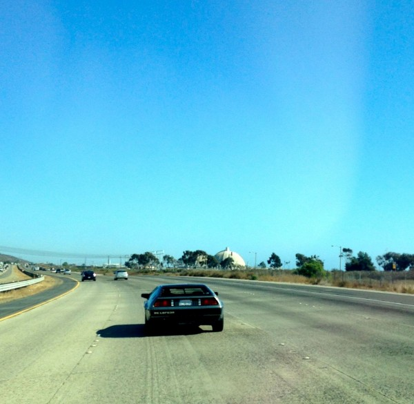 This Delorean passed me right by the nuclear power plant north of Camp Pendleton.  I hadn't see a Delorean in a long time and it made me chuckle it was right near a nuclear power plant.