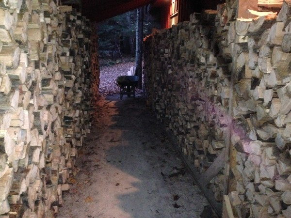We've stacked a bunch of wood the last while.