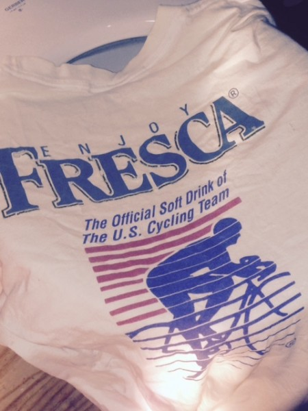 I found this old t-shirt in the grout cleaning rag pile.  Fresca for cycling, yum.