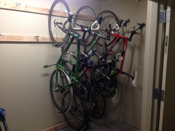 Last night, Keith and I installed some bike hangers in their storage area.