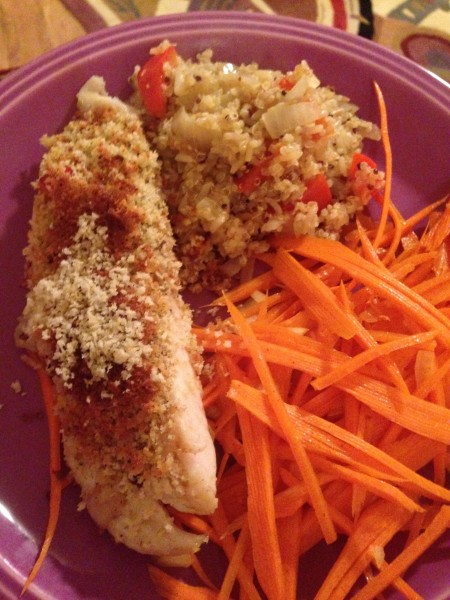 Fish, spicy carrots and couscous.
