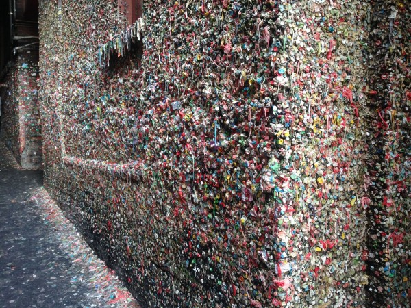 A wall of gum in Post Alley, below Pike Market.